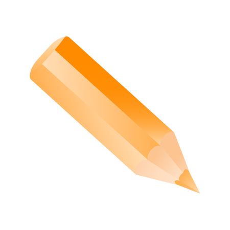 Short small pencil icon. Orange pencil vector illustration Illustration