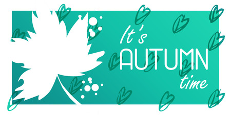 Vector illustration, autumn leaves with text on a hand drawn background 写真素材 - 112126769