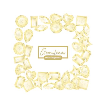 Piedras preciosas blancas brillantes de diferente forma de marco cuadrado, borde con lugar para el texto.