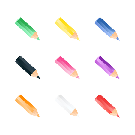 collection of color short small pencils. Realistic style. Colorful bright icons Stock Illustratie