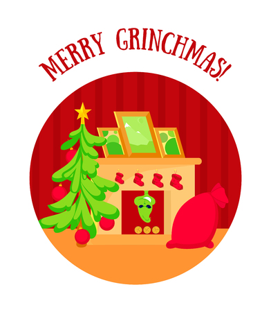 Christmas room with tree, fireplace, and gifts in red bag. Grinch climbs the chimney in the fireplace. Stockfoto