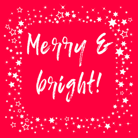 Merry Christmas Hand lettering Greeting Card. Typographical Vector Background.