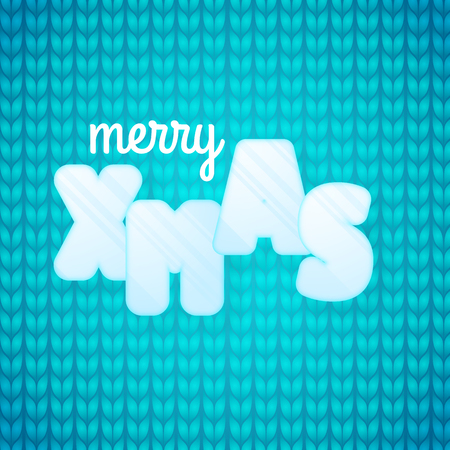 Greeting card with phrase Merry Xmas. Ice letters. Knitted blue background. Sweater close up view background Stock Illustratie