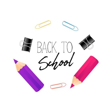 Notebook paper ,realistic colorful pencil with quote back to school, and school suplies border. Copy space place text background, vector illustration. Square Banner template
