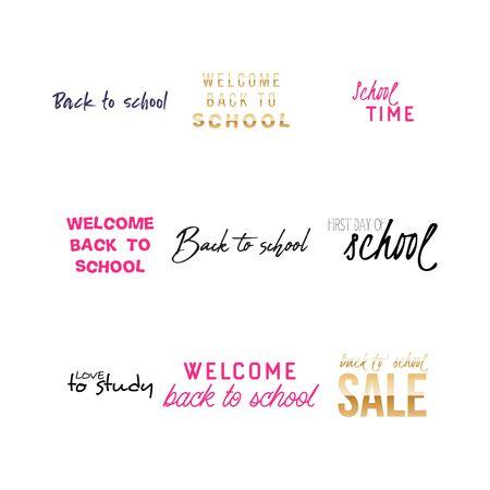Set of Welcome back to school labels. School Background. Back to school sale tag. Vector illustration. Hand drawn lettering badges. Typography emblem set Illusztráció