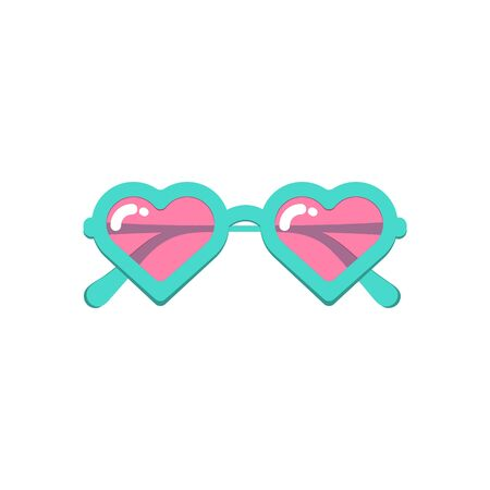 Vector cartoon style illustration of heart shaped sunglasses with pink lenses . Isolated on white background.