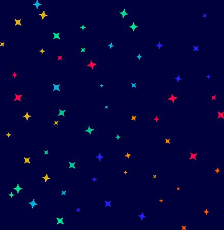 Seamless pattern with night sky and colorful flat stars. Vector tiling background.