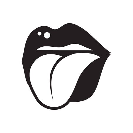 Open mouth with female lips and tongue sticking out close-up monochrome black and white vector icon isolated on white background. Facial expression concept cartoon illustration