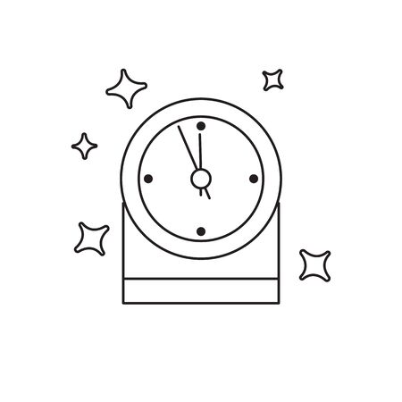 New Year black clock linear icon, five minutes to midnight. Merry Christmas. Ilustrace