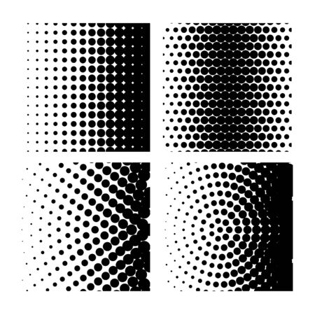 Vector illustration with four different halftone patterns. Halftone dots black and white backgrounds vector. Set of patterns in vintage style illustration. Stock Illustratie