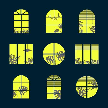 Collection of windows silhouette of various designs isolated. Windows light city at night. Vector illustration of apartment blocks with windows, in which the gap silhouettes of tropical and home plants and curtains. Ilustração