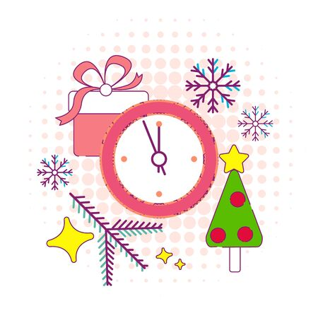 Vector Illustration of Christmas Outline BAckground for Design, Website, Banner. New year and xmas Element Template. Christmas tree and box of gifts and present under it. Illusztráció