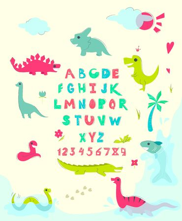 Funny alphabet with cute dinosaurs. Educational poster for children. Vector illustration