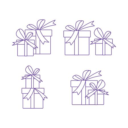 Gift box with bow, cut from paper