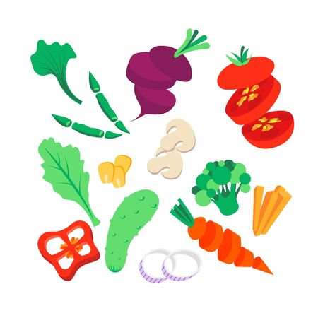 Vegetable set. Vector illustration. Whole, sliced and chopped various vegetables.