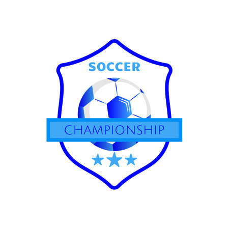 Soccer football logo design with ball on shield. Simple vector soccer label or emblem. Football, soccer logo badge championship vector colorful.  イラスト・ベクター素材