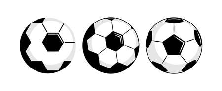 Set of different black and white soccer or football balls with a variety of pentagonal logo patterns, isolated on white background