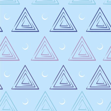 Vector light and dark blue stylish triangular pattern with white half moon with seamless grid line texture. Geometric shapes background Illustration