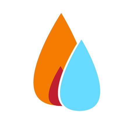 Water and fire simple sign. Element, logo, symbol or icon for a gas company or business. Central heating and water supply.