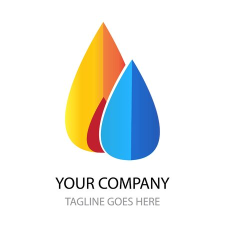 Water and fire stylish logo sign. Element, symbol or icon for a gas company or business. Central heating and water supply.