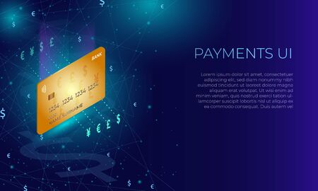 Isometric bank credit or debit card. Paying or currency exchange concept on a dark blue glowing background.