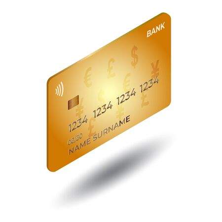 Isometric gold debit or credit plastic card on white backround with shadow. Stock Illustratie
