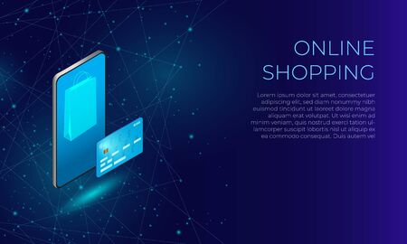 Blue polygonal online shopping user interface. Concept of mobile online payments.