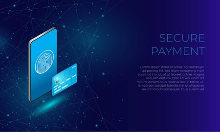 Blue isometric phone with fingerprint and bank card as a concept of secure online payments and transactions in e-commerce and banking.