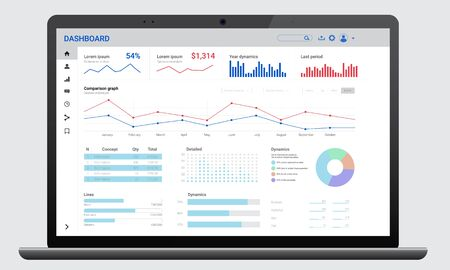 Realistic dark laptop mock up with analytics dashboards. Charts and graph. Business, financial and digital marketing Vetores