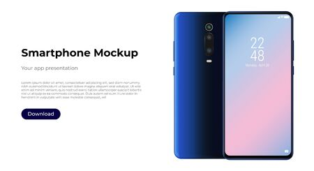 Realistic smartphone mockup front and back sides. Mobile phone blank screen, white screen. Device UI UX mockup for presentation template. Vector Illustratie