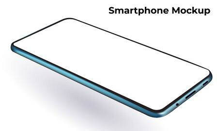 Blue modern smartphone frameless template and blank screen mockup, rotated horizontal perspective view.