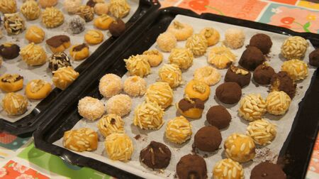 Real homemade sweet Spanish dessert panallets traditional for the Halloween all Saint Day