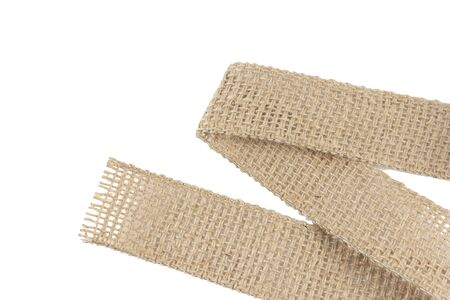 Burlap Fabric Wide rustic ribbon, Sackcloth Piece of Linen Jute, Sack Cloth Tag Isolated on White background