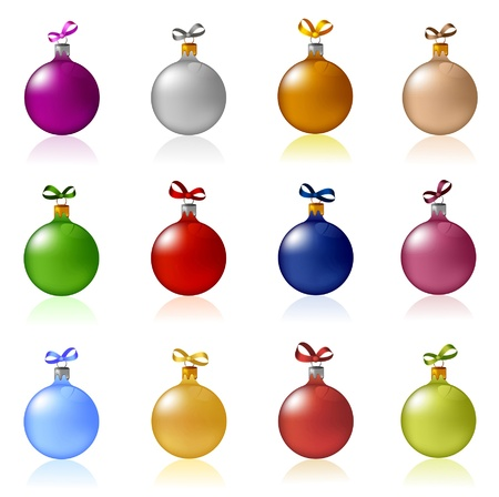 Clip-art of colorful Christmas balls with bows Stock Vector - 11658374