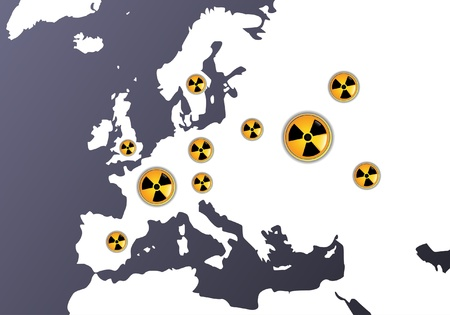 Map of Europe showing signs of radiation, where are the biggest nuclear power plants Stock Vector - 11658425