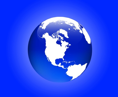 hemisphere: Detailed map of the western hemisphere of the earth as a globe in the vector (America)