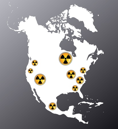 Map of North America showing signs of radiation, where are the biggest nuclear power plants Vector