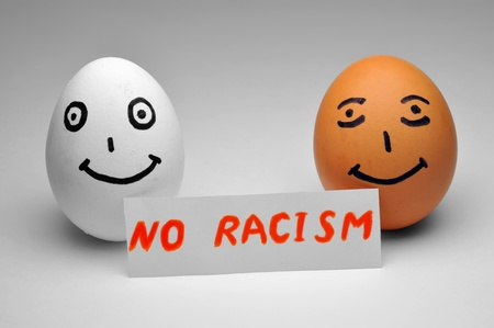 brown eggs: Slogan against racism and for friendship between the people (no racism)