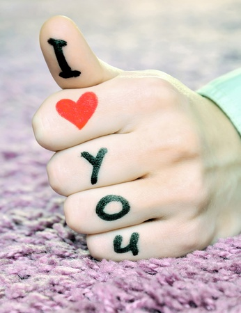 love you: I love you on a hand on valentines day