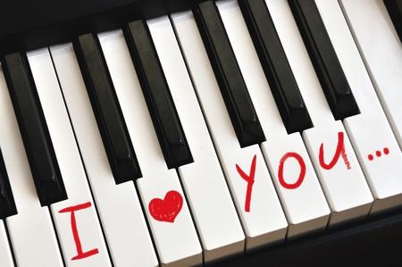 I love you on piano keys on valentines day photo