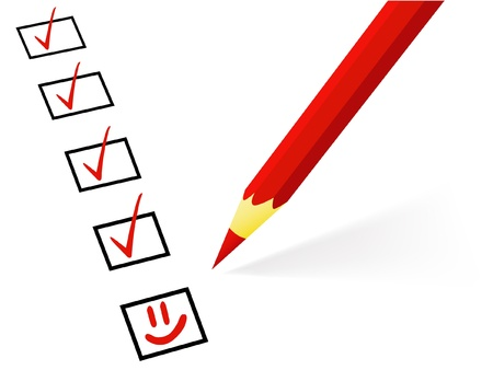 assessment: The red pencil puts ticks and a smile (successful work in business); it is isolated on a white background