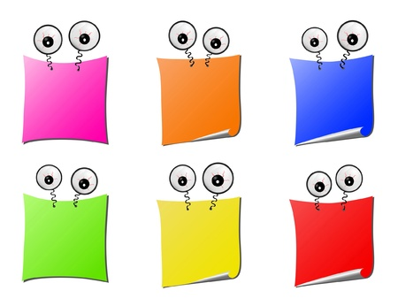 yellow sticky note: Clip-art from pages for notes with amusing big eyes