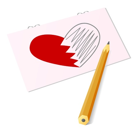 The image of heart with a pencil (a card by sacred valentine's day) Stock Vector - 11657608