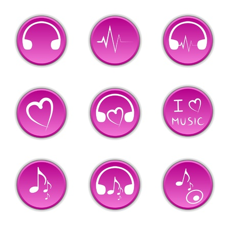 Clip-art from violet buttons on a music theme Vector