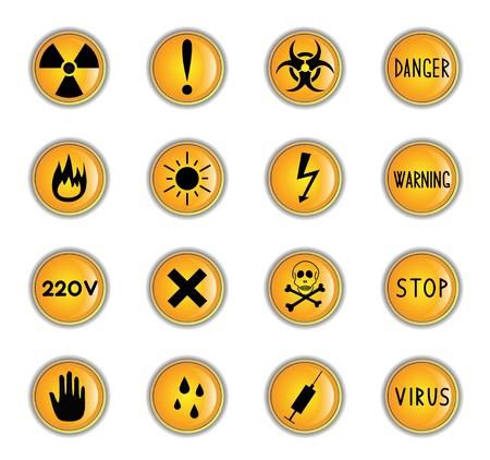 radioactive symbol: Clip-art de los botones de color amarillo sobre un tema de peligro Vectores