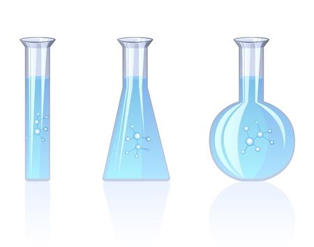 Drie flessen op de hoogte met een chemische oplossing die op een witte achtergrond Vector Illustratie