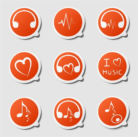 design media love: Clip-art from orange labels on a music theme Illustration