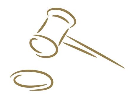 veiling: De schets van een hamer van de rechter een gouden borstel