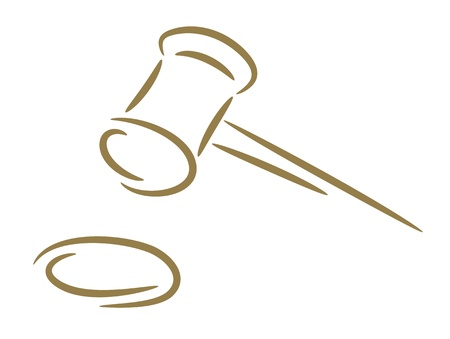 appellate: The sketch of a hammer of the judge a gold brush Illustration