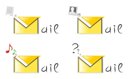Original badge of mail with the various maintenance inside (the document, a photo, music) Vector